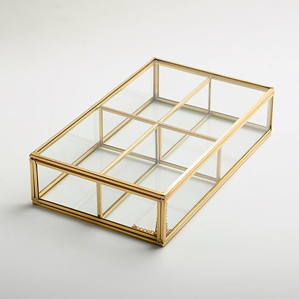 Takı Aksesuar Makyaj Kutusu Cam Organizer Kapaklı Gold Pirinç Brass 25x15x6cm