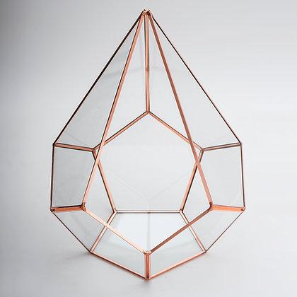 Bakır Rose Geometrik  Teraryum Prizma Cam Fanus Rubby27x22x22cm