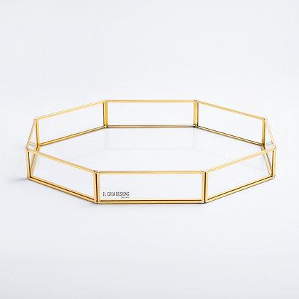 Gold Pirinç Brass Dekoratif Tepsi 35cmx25cmx5cm