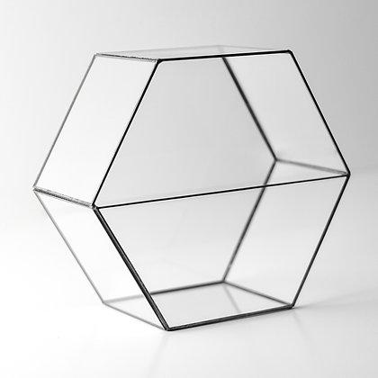 Siyah Antrasit Geometrik Prizma Teraryum Cam Fanus 22x20x10cm