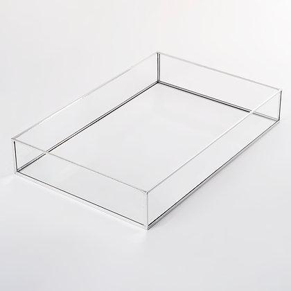 Gümüş Dikdörtgen Nişan Sunum Kahve Tepsisi 30x20x6