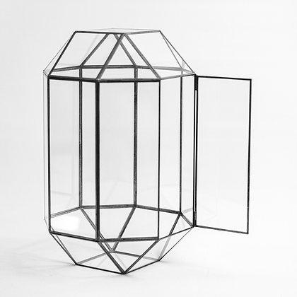 Siyah Antrasit Geometrik Teraryum Cam Fanus Kapaklı