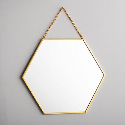 Ayna Altıgen Duvar Askılı Pirinç 20x18cm