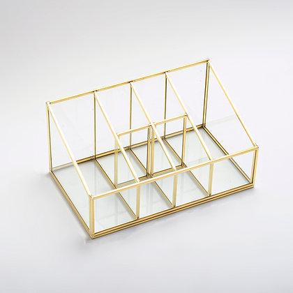 Gold Pirinç Brass 6 Bölmeli Makyaj Kutusu Organizer Kalemlik 25x15x12/7 Cm