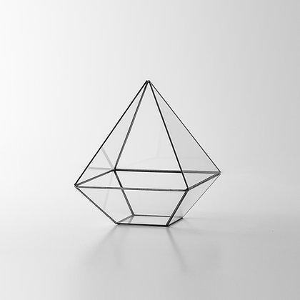 Siyah Antrasit Geometrik Prizma Teraryum Cam Fanus 18x15x15cm