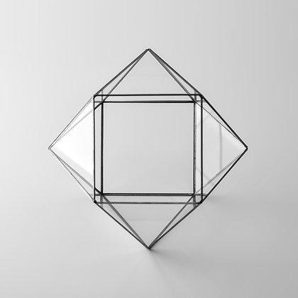 Siyah Antrasit Geometrik Prizma Teraryum Cam Fanus 22x22x17cm