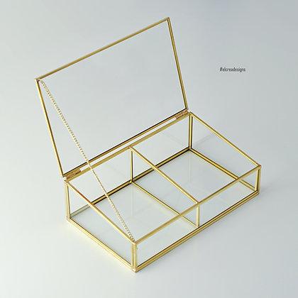 Gold Pirinç Brass Dekoratif Kapaklı Cam Takı, Makyaj, Aksesuar Kutusu 2 Bölmeli