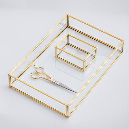 Nişan Tepsisi Yüzük Kutusu Makas Gold Pirinç Brass 30x20x6cm