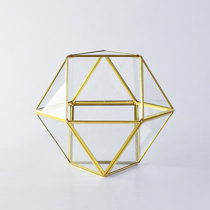 Gold Pirinç Brass Dekoratif Geometrik Teraryum Cam Fanus Polygon