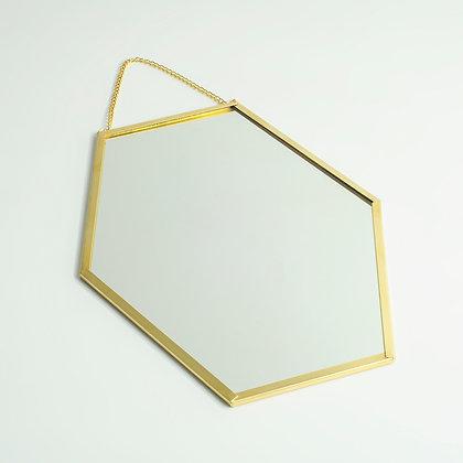 Gold Pirinç Brass Geometrik Duvar Askılı Dekoratif Ayna 27x20cm