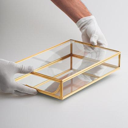 Kapaklı Kutu Ayna Tabanlı Ham Pirinç Çikolata Takı Aksesuar Kutusu 30x20x6cm