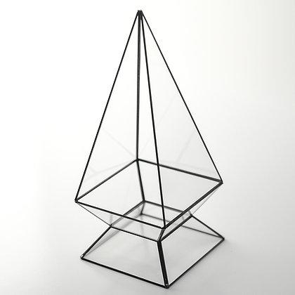 Siyah Antrasit Geometrik Prizma Teraryum Cam Fanus 30x13x13cm