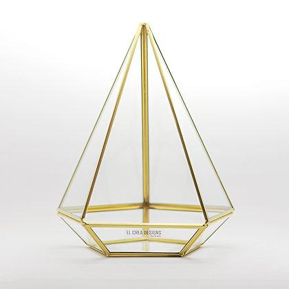 Gold Pirinç Brass Geometrik Teraryum Cam Prizma Fanus Diamond 27x21x21cm