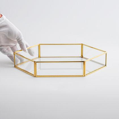 Gold Pirinç Brass Dekoratif Geometrik Cam Tepsi 29x20x6cm