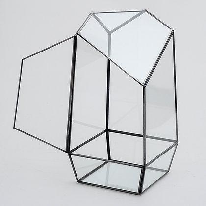 Antrasit Geometrik Teraryum Cam Fanus Kapaklı Valens 24x11x11cm