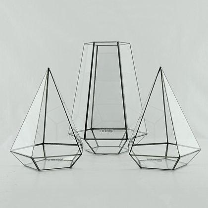 Teraryum Geometrik Üçgen Prizma Cam Fanus Siyah Antrasit