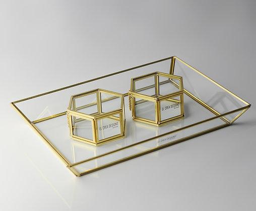 Gold Pirinç Brass Dikdörtgen Nişan Tepsisi ve Altıgen Kapaklı Yüzük Kutusu