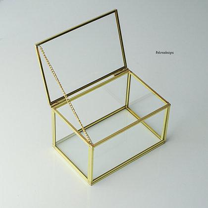 Gold Pirinç Brass Dekoratif Kapaklı Cam Takı Kutusu 15x10x8cm