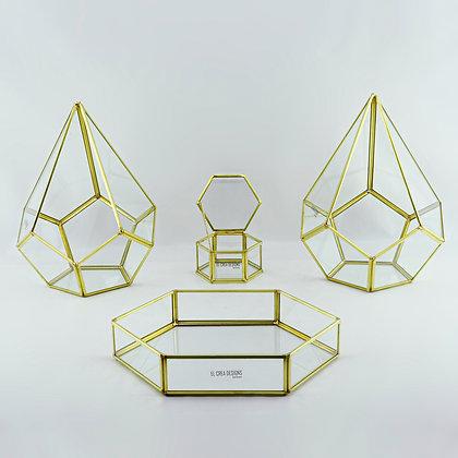 Gold Pirinç Brass Nişan Masası Sunum Seti Geometrik Cam Fanus Takımı