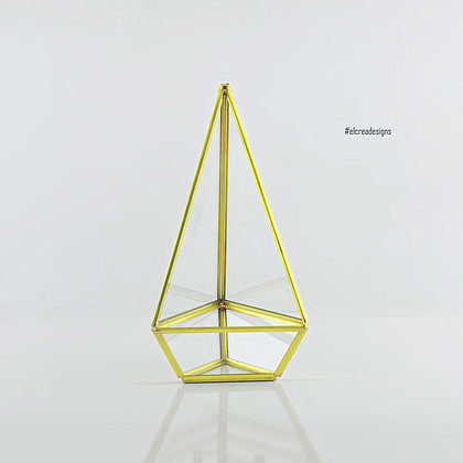 Gold Pirinç Brass Geometrik Prizma Teraryum Cam Fanus
