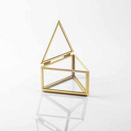 Gold Pirinç Brass Üçgen Yüzük Kutusu 10x8x6cm
