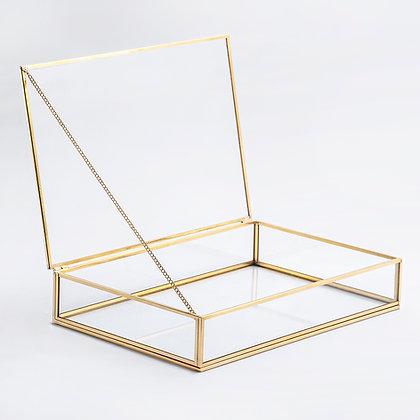 Gold Pirinç Brass Dekoratif Kapaklı Cam Takı, Makyaj, Aksesuar Kutusu 30x20x6cm