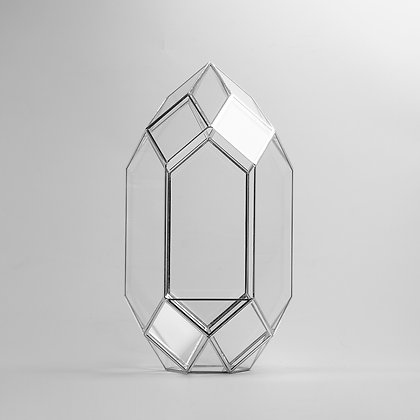 Gümüş Silver Geometrik Teraryum Cam Fanus Dekoratif Obje