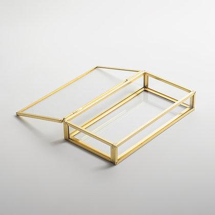 Gold Pirinç Brass Minimal Tasarım Kapaklı Kutu 15x8x3cm
