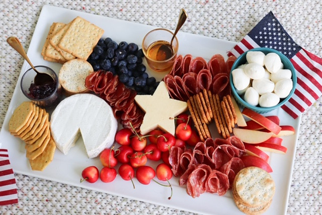 Red, White, & Blue Charcuterie Board for July 4