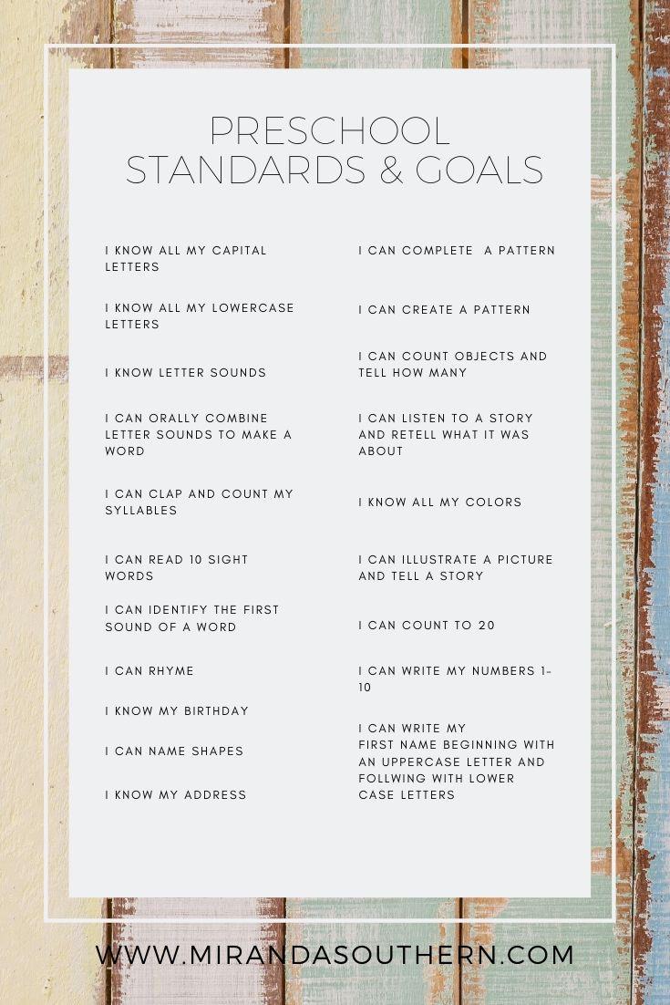 Preschool Standards & Goals