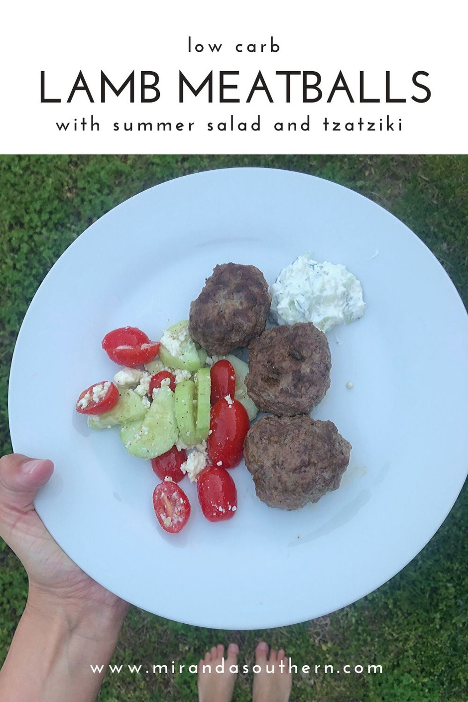 Lamb Meatballs with summer salad & tzatziki {recipe}