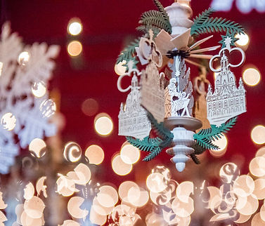 At the Denver Christkindl Market, Christmas tree ornaments, handmade in Germany