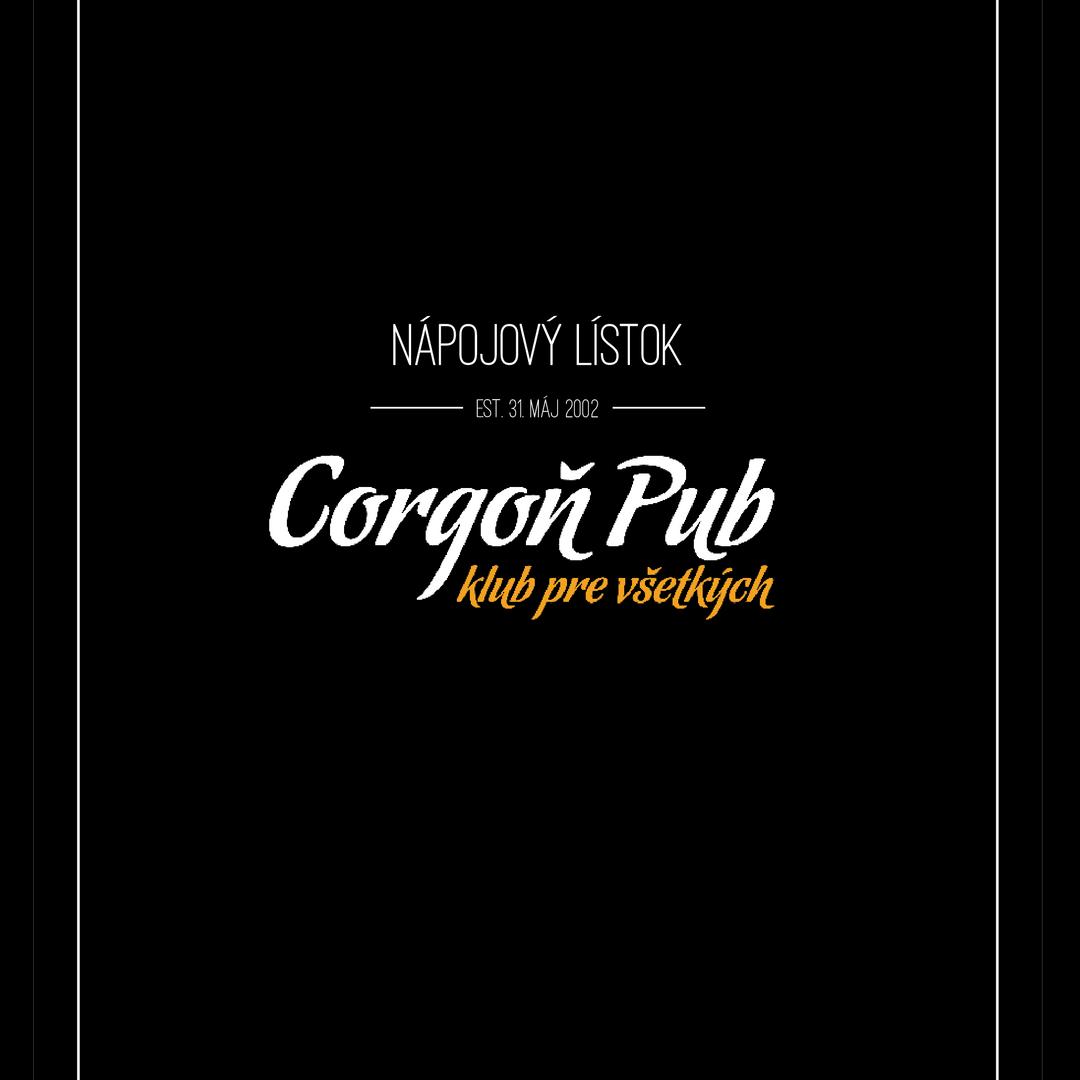 Nápojový lístok pre Corgoň Pub Levice