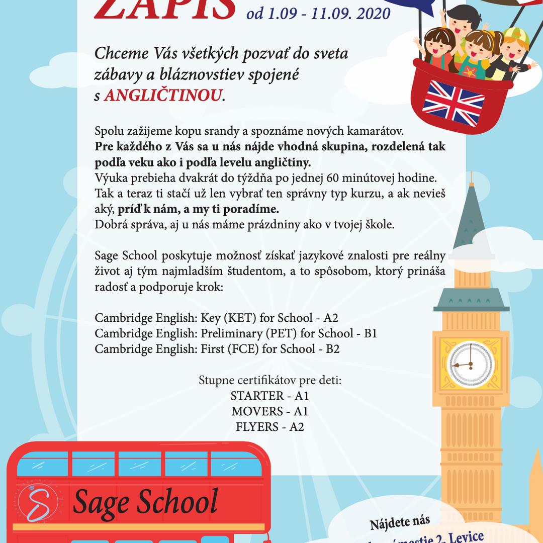 Leták - jazyková škola Sage school