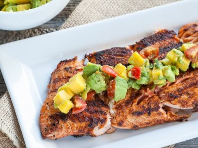 Scrumptious Salmon with Mango and Avocado salsa
