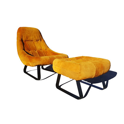 Brazilian space age mid-century modern Earth lounge chair and ottoman by Perciva