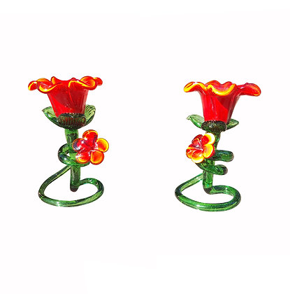 Pair of Italian Venetian Murano red and green glass flower candlesticks