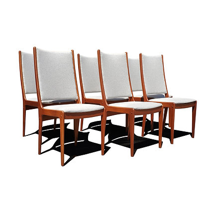 A set of 6 Johannes Andersen mid-century highback dining chairs