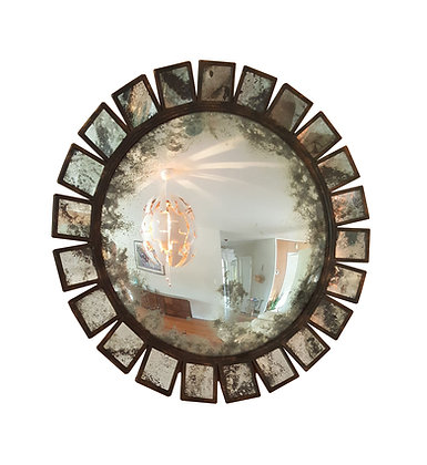 Large sunburst convex industrial - brutalist - MCM style mirror