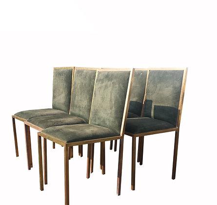 A set of 6 Italian brass dining chairs - circa 1970