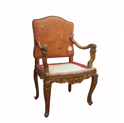 A large rare French Louis XV circa 1730 cardinal / bishop armchair