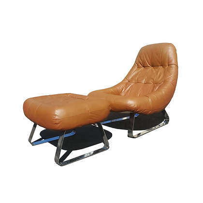 A Brazilian space-age MCM Earth lounge chair and ottoman by Percival Lafer