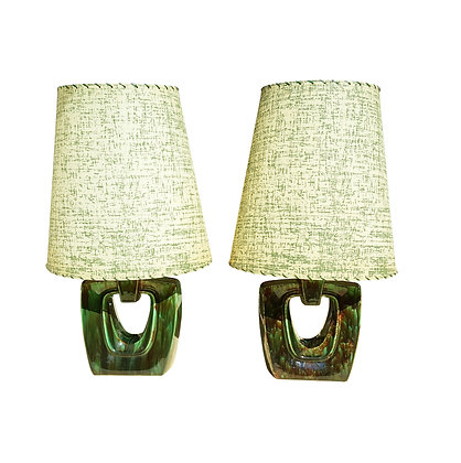 A pair of American mid-century modern green  ceramic lamps by Gonder Ceramic Art