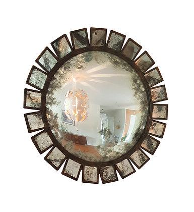 Large sunburst convex industrial / brutalist mid century modern mirror