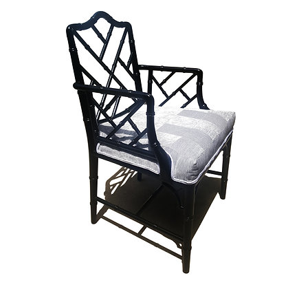 Faux Bamboo Chinese / Chippendale / maison Jansen style black lacquered armchair