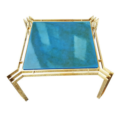 Mid century modern brass and blue lacquer coffee table