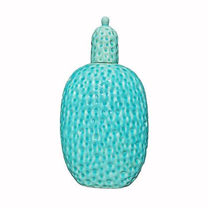 Large Blue mid century modern glazed ceramic vase / urn