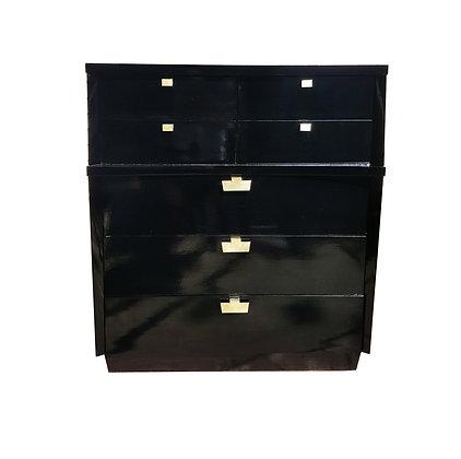American 1950's mid century modern black lacquer dresser