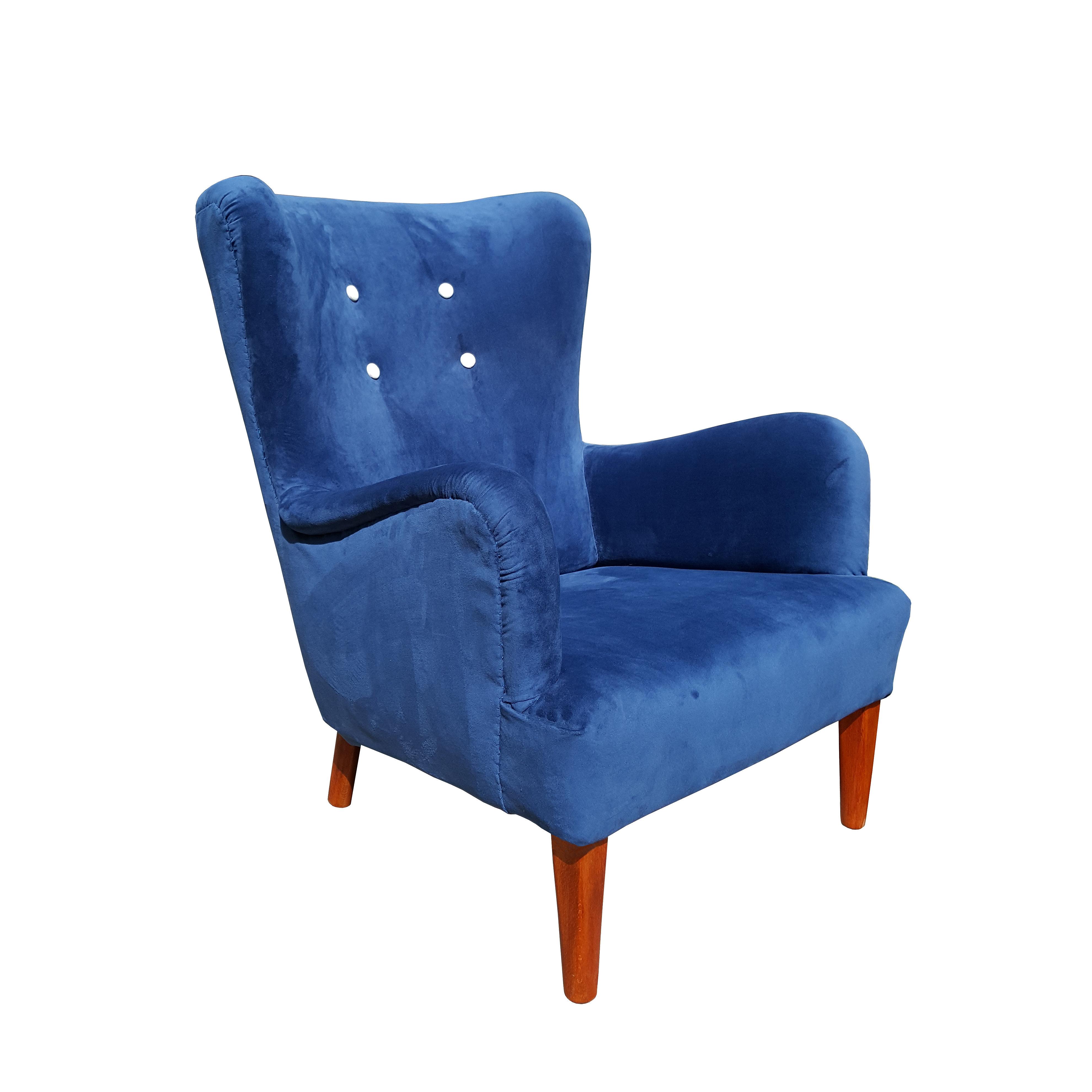 A.J. Iversen Danish 1940u0027s Wingback Chair