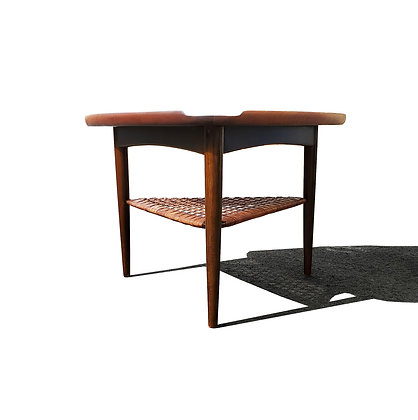 "Danish Modern Walnut and Cane ""Guitar Pick"" Side Table by Poul Jensen."